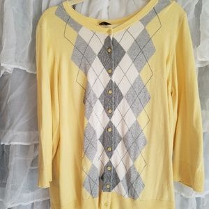 Talbots yellow and gray argyle cardigan